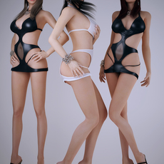 Realistic brunette woman wearing sexy dancing outfits or bikinis - 3 poses 3D Model