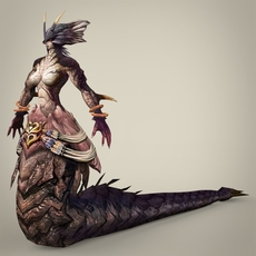 Fantasy Snake Woman Kampoli 3D Model