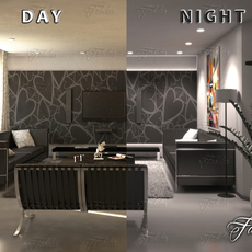 Living room 11 Day & night 3D Model