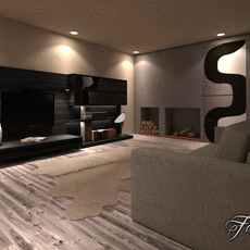 Living room 19 night 3D Model
