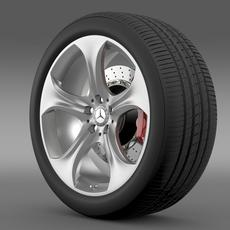 Mercedes Benz S 400 hybrid wheel 3D Model