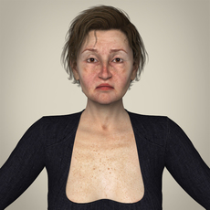 Realistic Old Age Woman 3D Model
