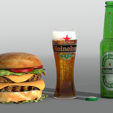 Hamburger and Heiniken beer 3D Model