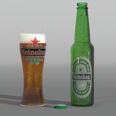 Heiniken and glass of beer 3D Model