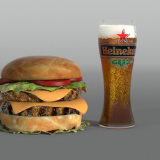 Hamburger and glass of beer 3D Model