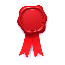 Wax seal with red ribbon 3D Model