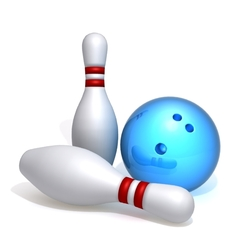 Bowling pins and ball 3D Model