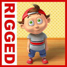 Boy cartoon rigged 03 3D Model