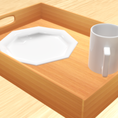 Tray if a plate and cup 3D Model