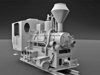 Narrow Gauge Steam Locomotive 3D Model