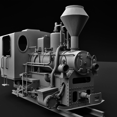 Narrow Gauge Steam Locomotive 3D Model