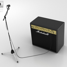 Microphone with Holder and Amp 3D Model