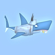 Shark cartoon 01 3D Model