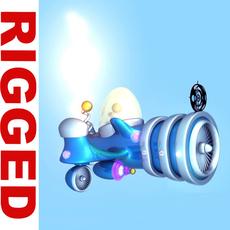 Spaceship Cartoon rigged 3D Model