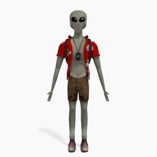 Grey Alien Tourist 3D Model