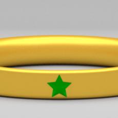 Golden Ring with Gem Stars 3D Model