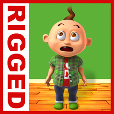 Boy cartoon rigged 04 3D Model