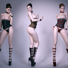 Tight leather sexy woman 3D Model
