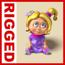 Girl baby cartoon rigged 01 3D Model