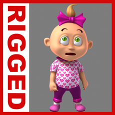 Girl baby cartoon rigged 02 3D Model