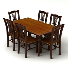 Chair and Table Set 08 3D Model