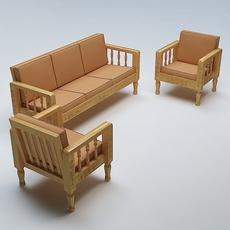Sofa Set Wooden 3D Model