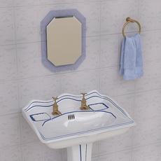 Stylish Pedestal Wash Basin and Props 3D Model