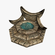 Fantasy Fountain lowpoly 3D Model