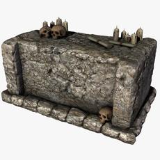 Stone altar with skulls 3D Model