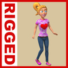 Girl Cartoon Rigged 03 3D Model