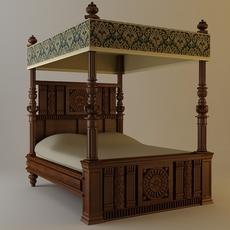 Antique Canopy Bed 3D Model