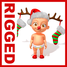 Baby Jake Christmas Rigged 3D Model