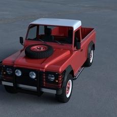 Land Rover Defender 110 Pick Up w interior HDRI 3D Model