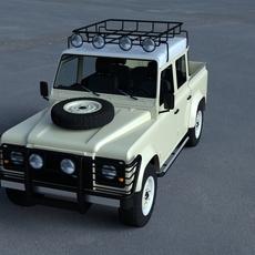 Land Rover Defender 110 Double Cab Pick Up w interior HDRI 3D Model