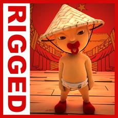 China baby Cartoon Rigged 3D Model