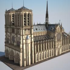 Notre-Dame de Paris Cathedral 3D Model