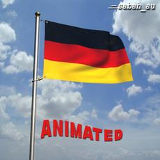 Animated German Flag 3D Model