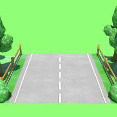 Manga/Cartoon style trees and bush 3D Model