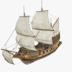Old Battle Ship 3D Model