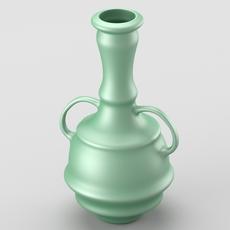 Decorative shiny vase in green tones 3D Model