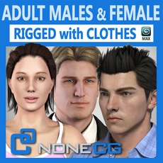 Pack - Adult Males and Female Rigged Megapack 3D Model