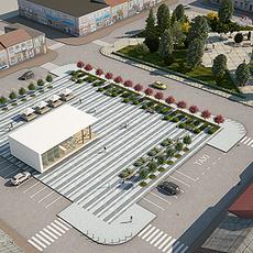 City Plaza Market Square Full Scene 3D Model