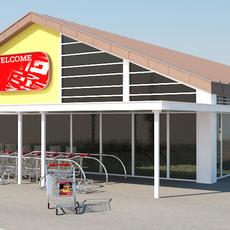 Super Market Building With Parking Space 3D Model