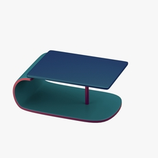 Modern table in green,blue with addition of red 3D Model