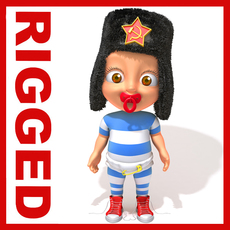 Russian baby Cartoon Rigged 3D Model
