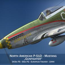 North American P-51D - Gunfighter 3D Model