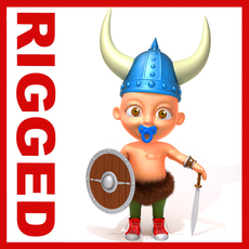 Viking baby Cartoon Rigged 3D Model