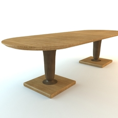 Oval Table Double Pedestal 3D Model