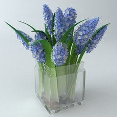 Lilac Bouquet in Glass Vase 3D Model