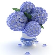 Blue Plants in Pot 3D Model